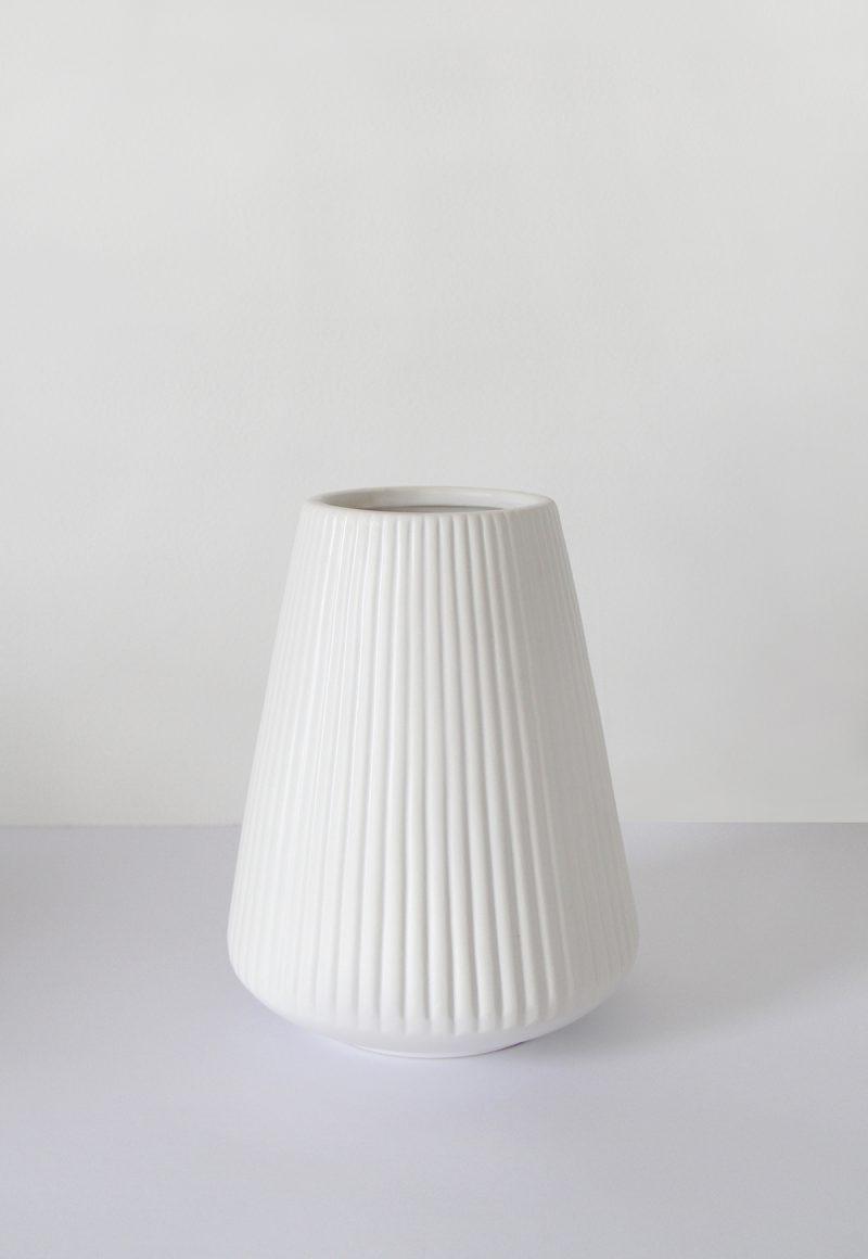Grooved Ceramic Vase